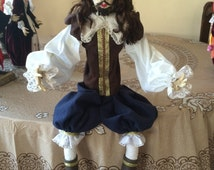 William Shakespeare Costumed Handmade Accessories Dress Clay Doll   Handmade Doll Clothes   Doll Clothes and Accessories