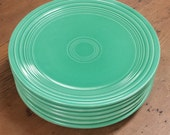 7 Fiesta Style Dinner/Luncheon Plates ~ Green Fiestaware ~ Mix and Match ~ Dinnerware ~ Set of 6 plus 1