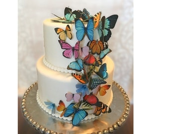 30 Edible Butterflies, 3-D Wafer Paper Double-Sided Toppers for Cakes, Cupcakes, Cookies or Drinks