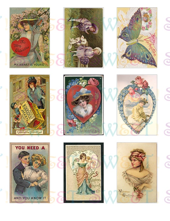 Edible Vintage Edwardian Valentine Card Cookie Toppers - Wafer Paper or Frosting Sheet
