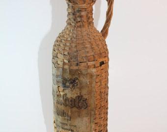 Vintage, Old Wine Bottle Wrapped in Basketweaving, Antique, Old