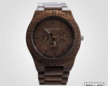 Men's Walnut Wood Watch- Bold, Beautiful, Rugged. Gift For Guys, Men's Gift, Sustainable and Renewable. Anniversary Gift. Free Shipping