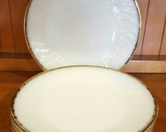Vintage Fire King Milk Glass Plate and Saucer Set with Gold Trim