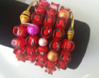 Memory wire bracelets, Red Beads Memory wire Bracelet, Yellow Memory Wire Bracelet, Handmade Memory Wire beads Bracelet, Cuff beaded