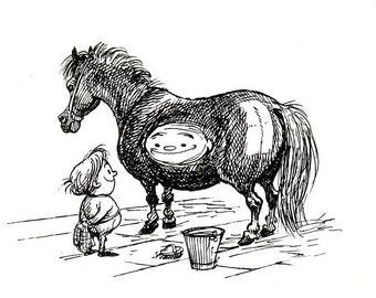 1962 thelwell horse shiny pony print