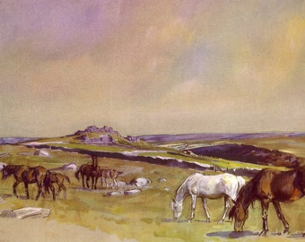 1948 horse print mares and foals on dartmoor by lionel edwards