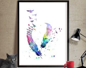 Birds feather watercolor art print, feather watercolor art Poster Art Print, Watercolor Painting, Watercolor Art, Home Decor, wall art (348)