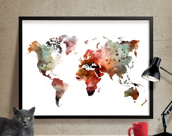 Watercolor map print  Etsy