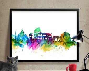 Rome City Skyline, Rome Cityscape, Rome Print, Watercolor Art, Watercolor Painting,Rome City Art, Map Poster, Skyline Art (129)
