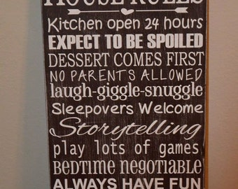 Grandparents House Rules, Wood Sign, Gifts for Grandparents, Grandparent Sign, Grandparent Gift, Wood Home Decor,Your Colors