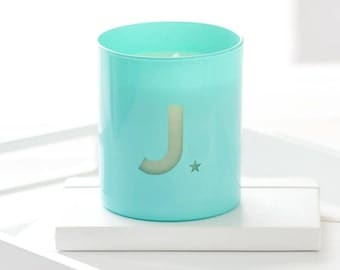 Personalised Glow Through Initial Candle. Pastel glass candle. Scented Candle. Personalized Gift. Pastel Decor. Posy Scented Candle
