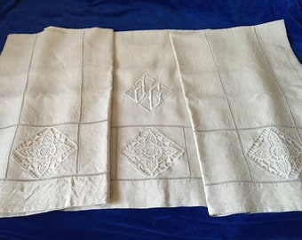 Amazingly Exceptional Fine Antique French Linen Sheet with Ornate and  Embroidery for Double or King Bed