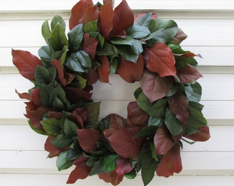 "Preserved Salal (Lemon Leaf) Wreath 20"" Dark Basil Green and Russet Fall Handcrafted for Home Decor, Weddings, Crafts, Holiday"