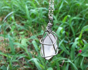 wire wrapped clear crystal necklace