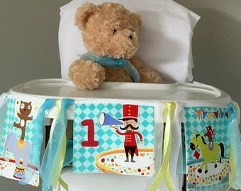 The Circus! High chair banner/skirt, first birthday banner, first birthday bunting, nursery bunting/banner, cake smash decoration.