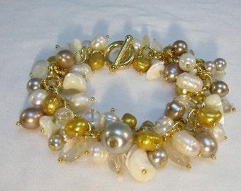 Gold Cha Cha Charm Bracelet Pearls Crystal Quartz OOAK  Surfers Paradise Beach