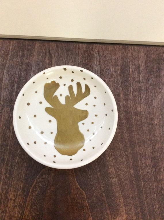 Gold deer jewlery dish