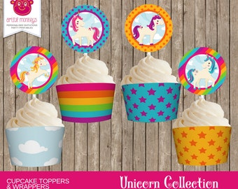 Printable Unicorn Cupcake Toppers and Wrappers