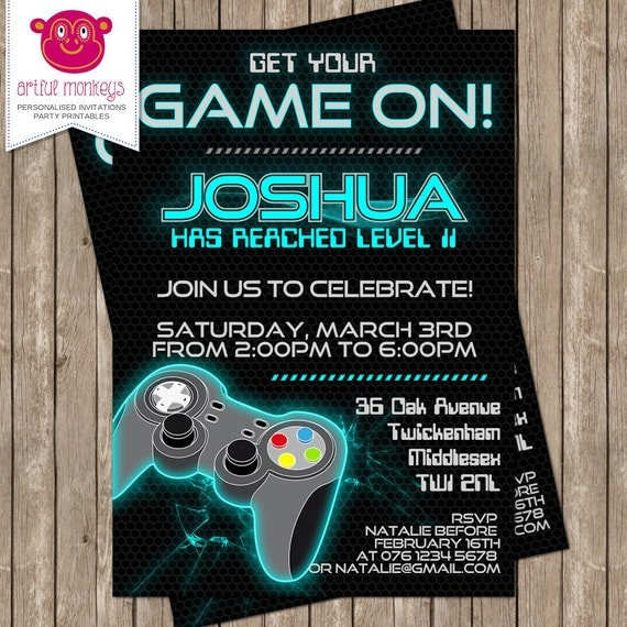This is an image of Monster Free Printable Video Game Party Invitations