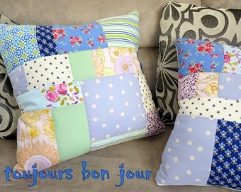 Patchwork pillow cushion in french provence & cottage style, handmade