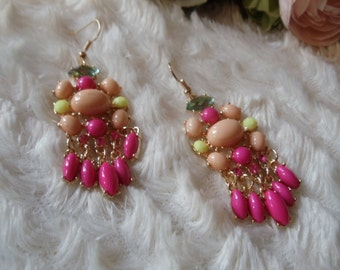 Earrings statement vintage ethnic pink/pink/yellow
