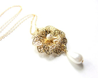 Delicate Gold Filigree Pearl Necklace, Gold Flower Necklace, White Teardrop Pearl on Gold Fill Chain, Gold and White Bridal Jewelry