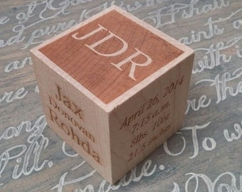 Personalized Baby Block, Engraved Wood Block, Personalized Newborn Gift, Baptism Gift, Birth Announcement