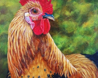 Rooster - Giclee PRINT of Watercolor painting