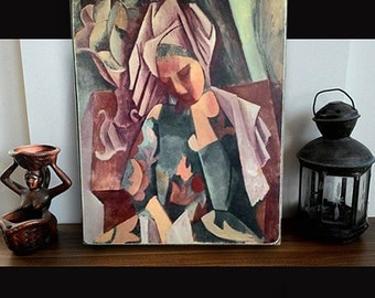 Pablo Picasso painting wood print print on wood art print vintage home decor woodprint, picasso print on wood cubic art