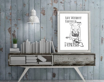 Life Without Coffee is Depresso - Screenprinted Bull Terrier Art Poster