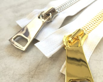 33 Inch Open Bottom Zipper #14mm White Tape-Gold or Silver Teeth