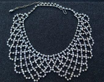 Vintage Rhinestone Bib Collar Necklace
