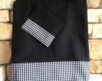 Set bag tote & wallet mini-neceser Black canvas and squares.