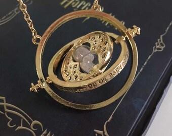 Harry Potter Time Turner Necklace, Gold Time Turner Necklace