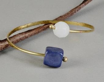 Blue stone bracelet, tagua bracelet wrap around cuff, agate cuff bracelet, gold toned bangle, adjustable bangle, gift idea for her.