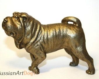 Chinese shar pei dog realistic bronze statuette