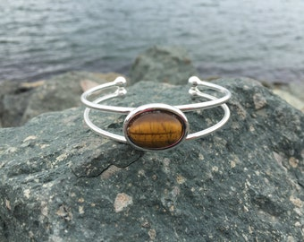 Sterling Silver Cuff Bracelet with Tiger Eye Stone