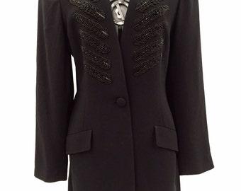 90s Vintage Kenar Black Beaded Detail Long Blazer Tuxedo Dress