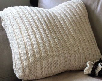 """SALE...Hand knitted Chunky Ribbed Cushion 16"""" x 16"""""""