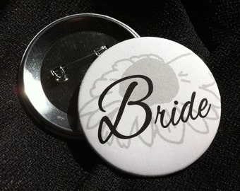 Floral Design Bridal Party Pinback Button