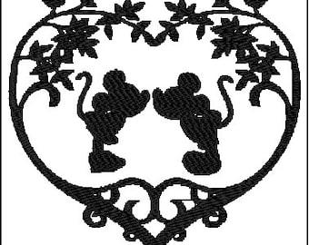 Mickey Minnie Kiss Embroidery Design