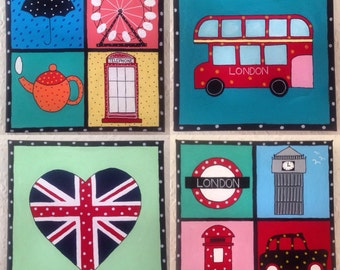 Set of 4 London Icon Canvases