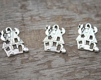 12pcs--Halloween haunted house charms, Antique Tibetan silver haunted house charm pendants 24x19mm D1060