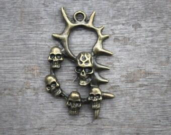 2 pcs Antique Bronze Skull Charms,skull pendants/charms large size 40x62mm D0594