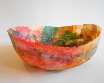 Abstract paper mache bowl decorative home accent colorful hand made artist signed