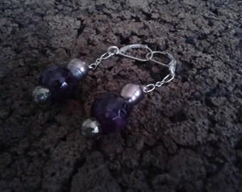 Purple Agate Dangle Earrings