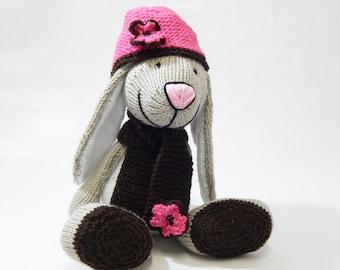 BIGFOOT RABBIT, hand knitted rabbit, hand knitted toy, handknitted rabbit, knitted farm animal, knitted rabbit,  knitted childerns soft toy