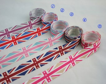 "Printed Grosgrain Ribbon,The Union Flag,British Flag,UK Flag,Union Jack,sewing,hairbows,craft,DIY 1"", 1 inch, 25 mm, 5 yards"