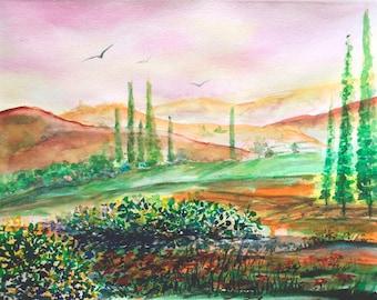 Tuscany landscape original painting Watercolor landscape painting art Italian landscape painting Italy landscape Original artwork