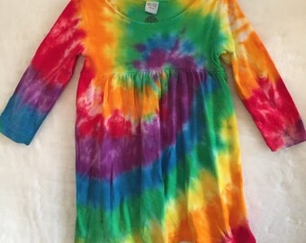 Tie dye dress , Toddler tie dye dress, Rainbow dress